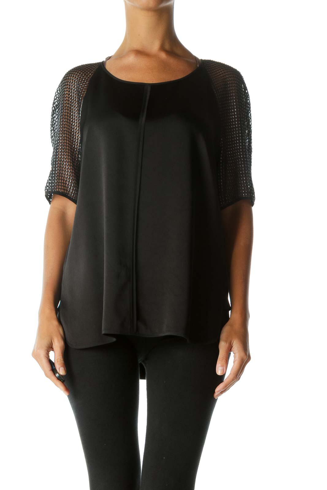 Black Silver See-Through-Short-Sleeves Soft Silk Blend Top