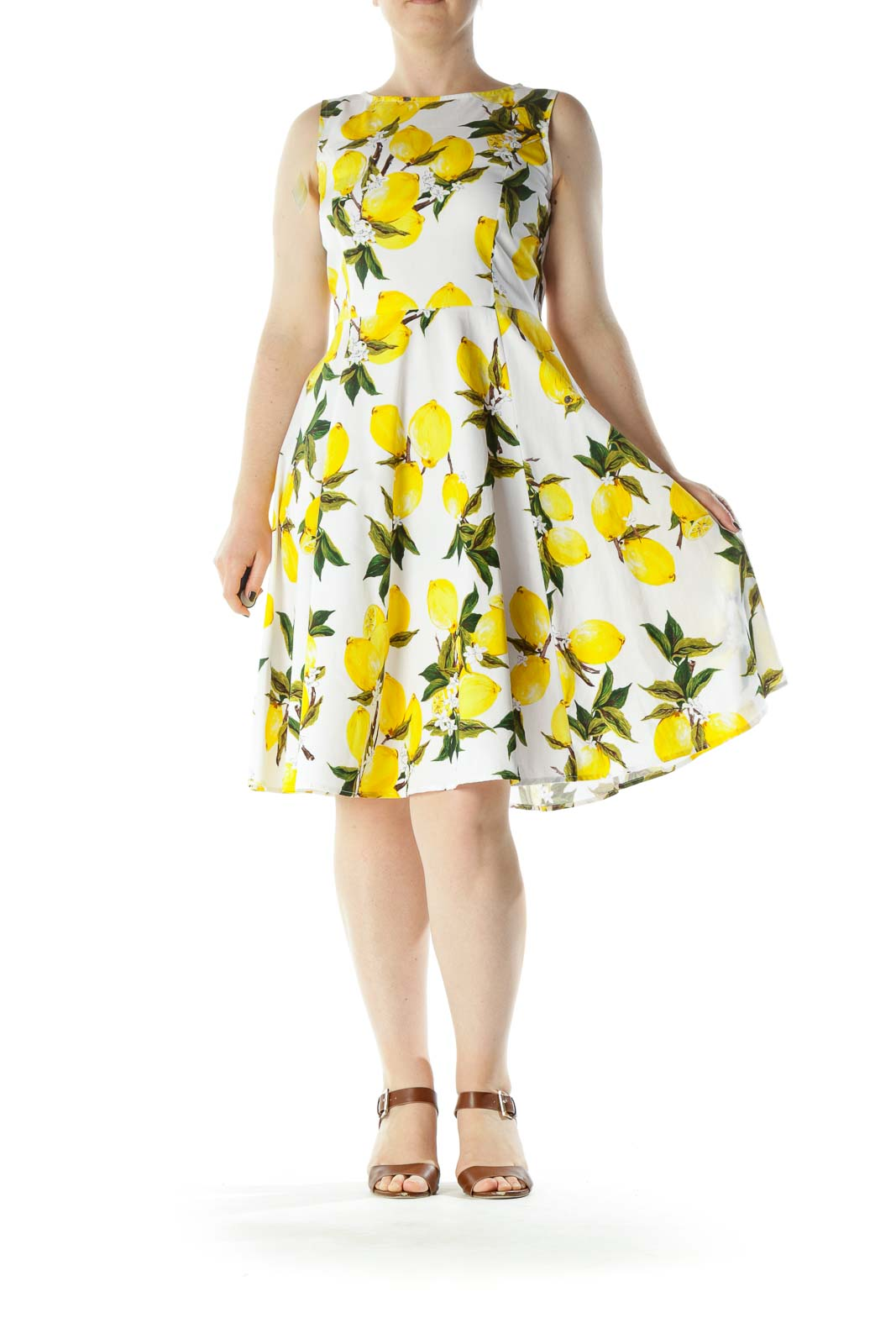 White Yellow Green Lemon Print Cotton Day Dress