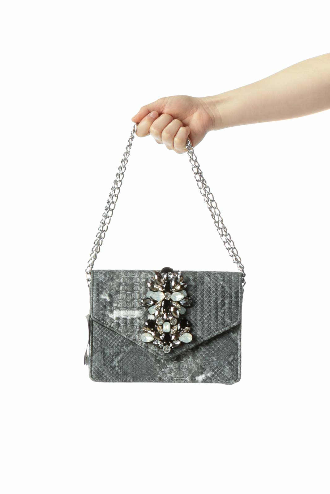 Snake Print Statement Chain Bag