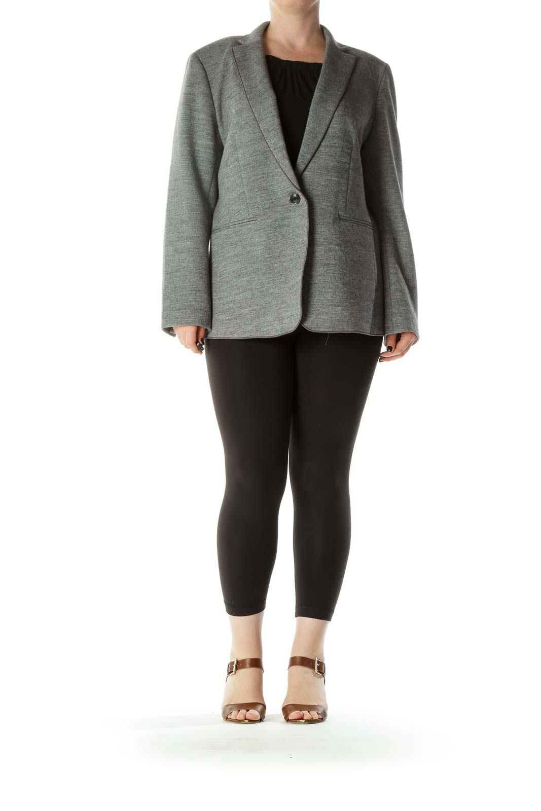 Gray Wool Cotton Blend Collared Single Button Blazer