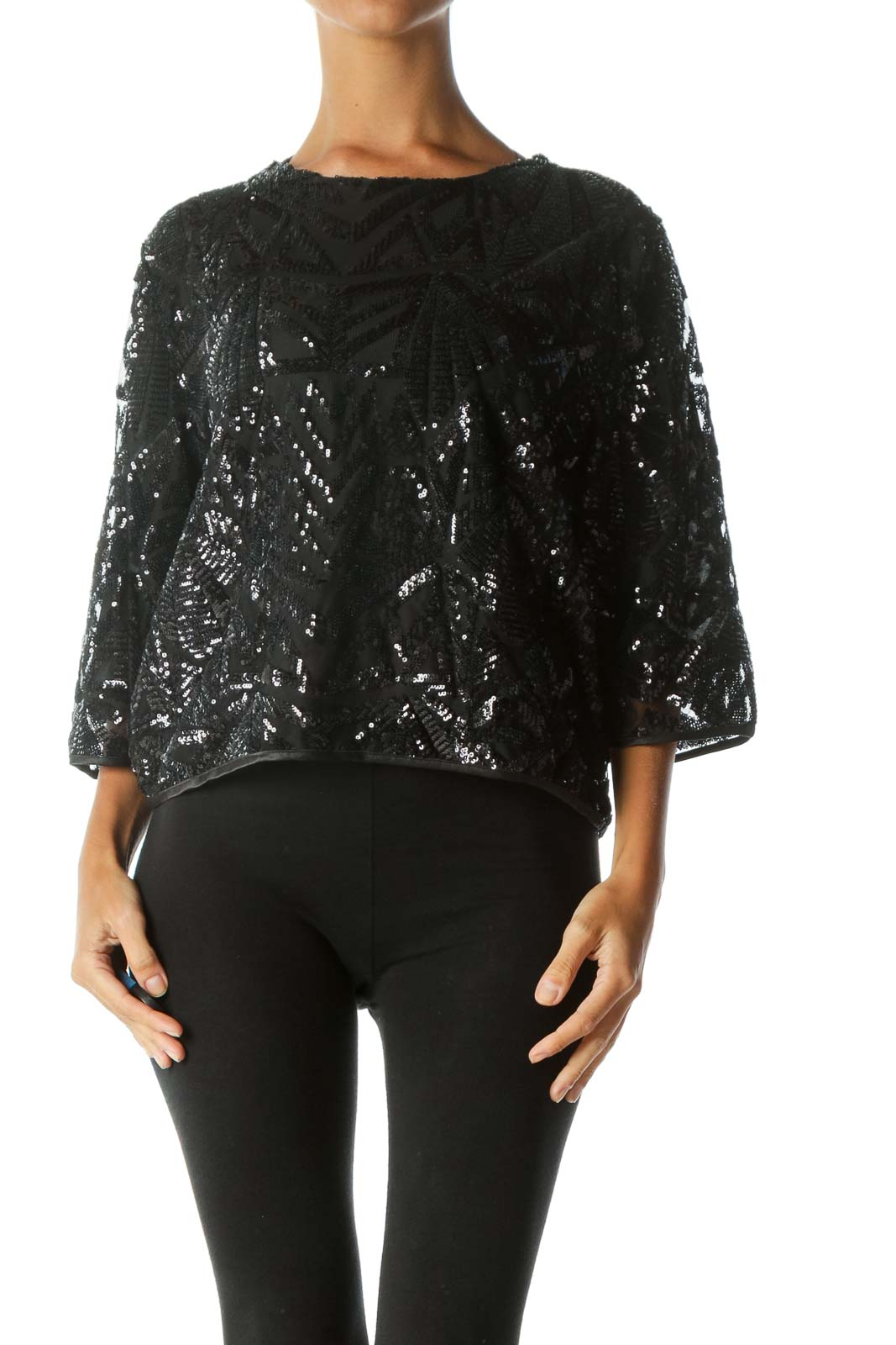 Black Sequined Pattern Round Neck 3/4-Sleeve Top