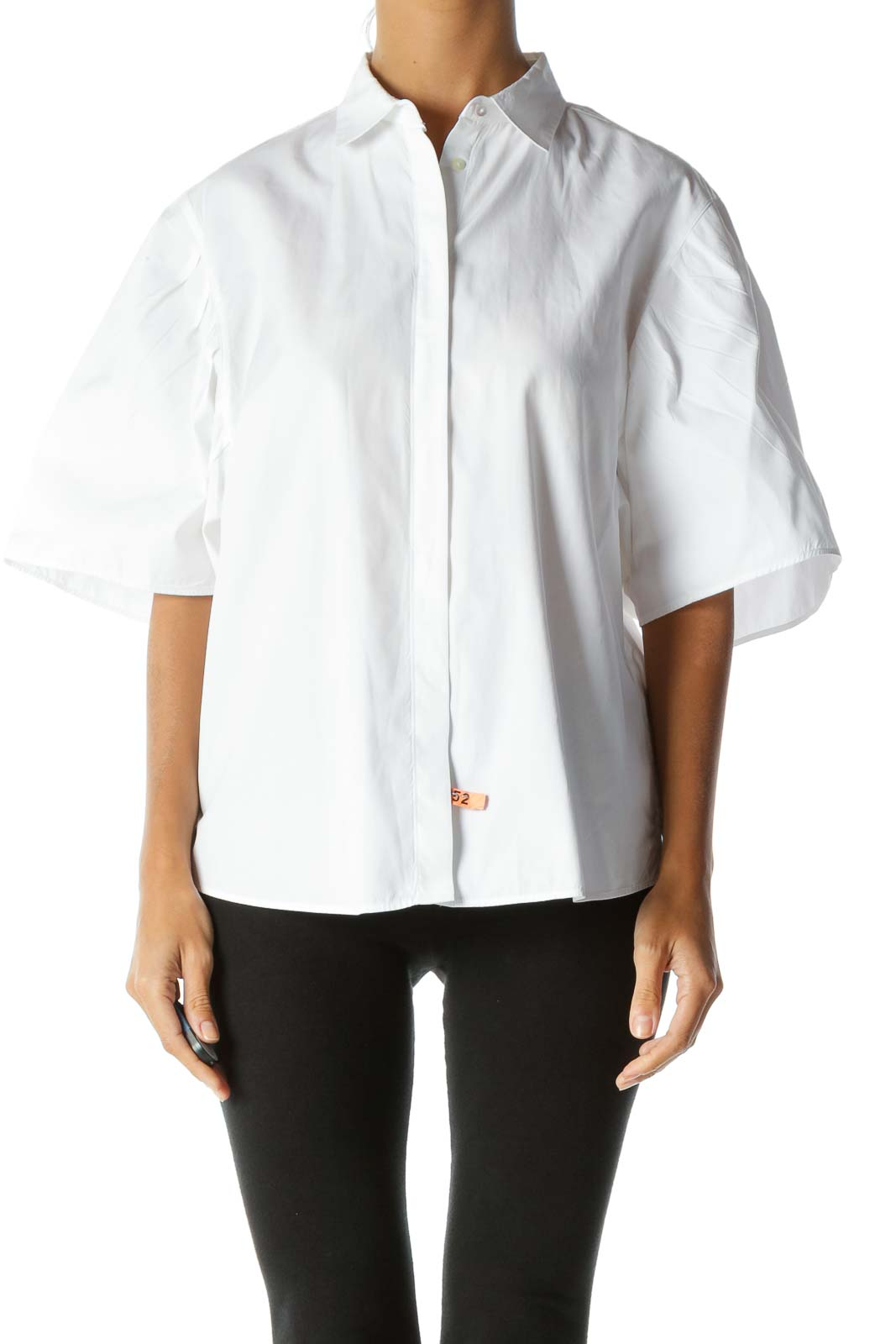 White 100% Cotton Buttoned Pleated-Detailing Short-Sleeve Shirt