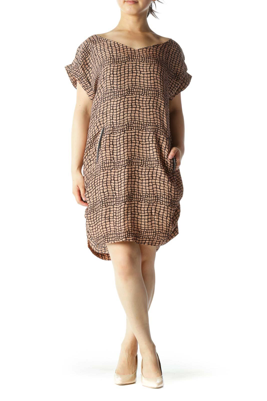Light Peach Black Short Sleeve Crocodile Print Zipper Accents Dress