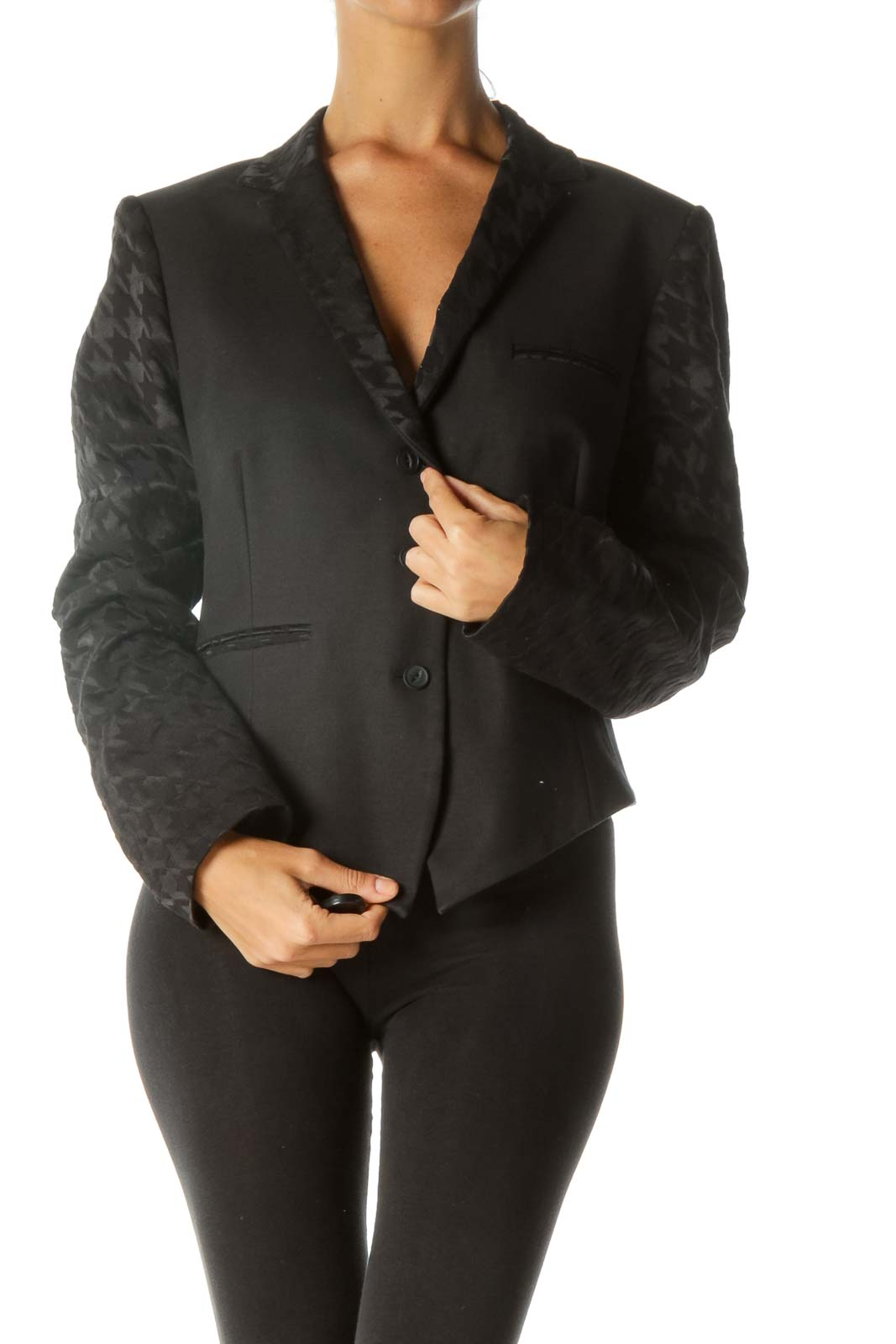 Black Jacquard Houndstooth Pattern Faux-Pockets Buttoned Blazer