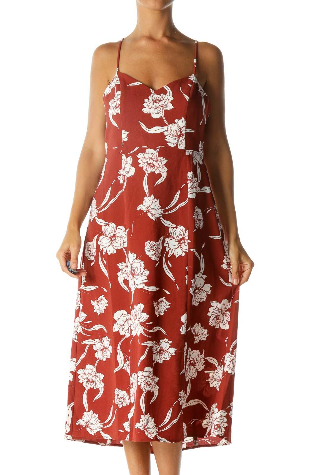 Brick Orange White Floral-Print V-Neck Spaghetti Straps Day Dress