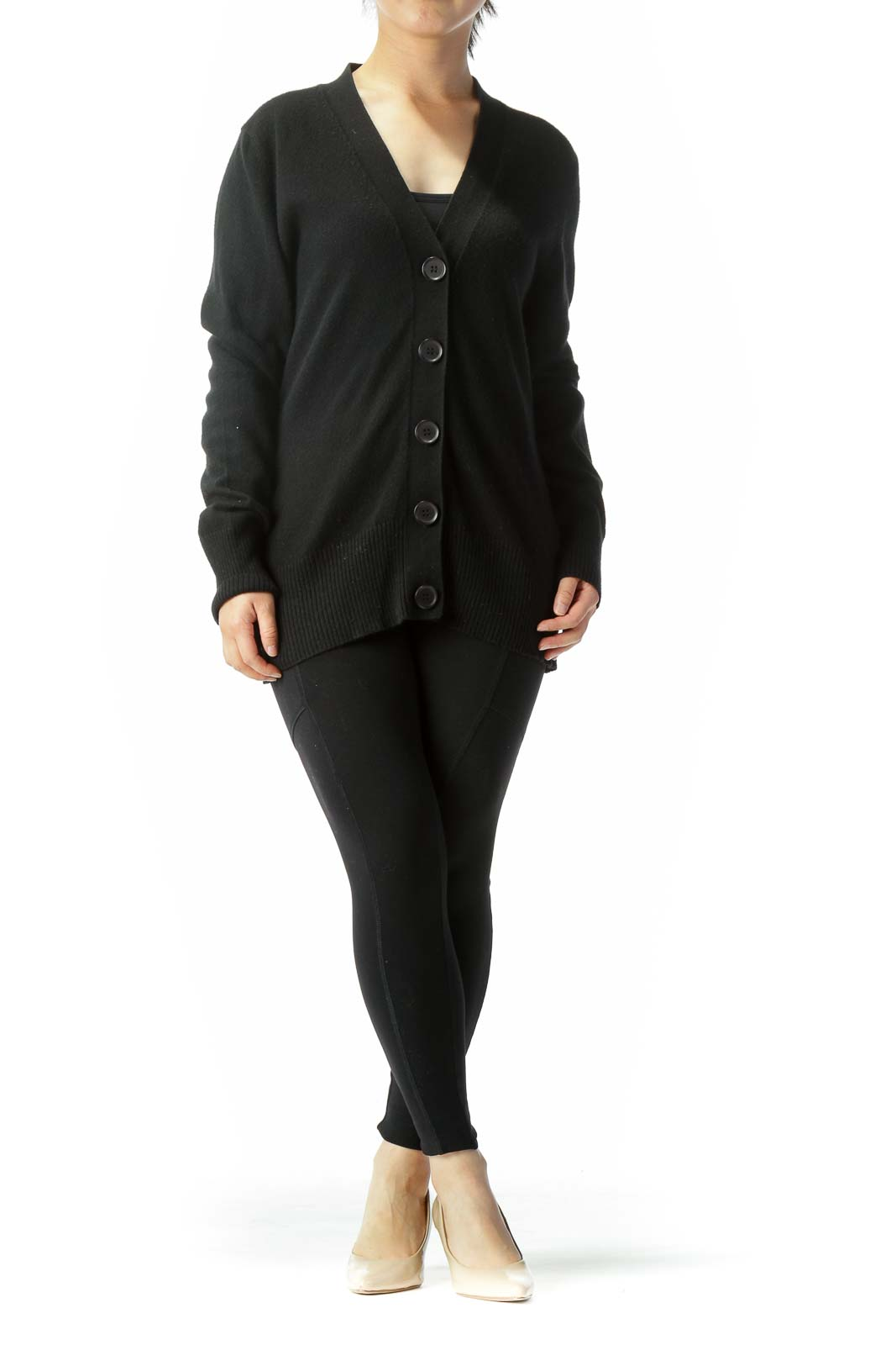 Black Cotton Cashmere Blend Buttoned Long Sleeve Cardigan