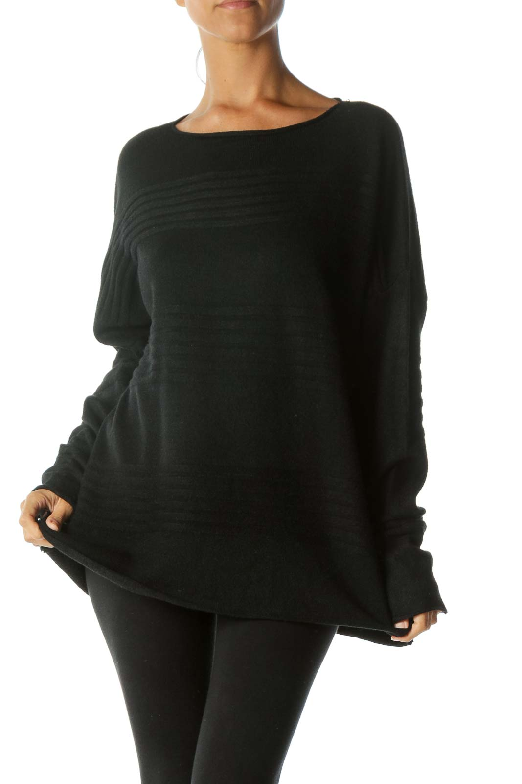 Black Textured Cashmere Blend Soft Stretch Sweater