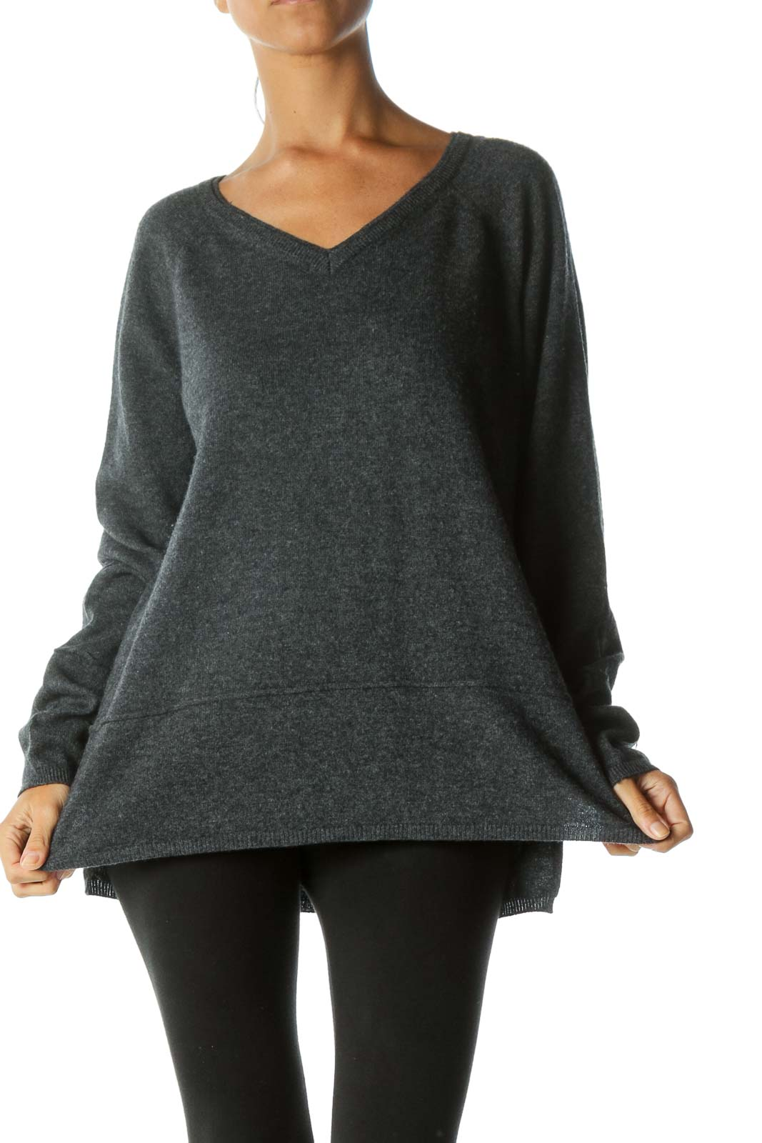 Dark Gray V-Neck 100% Cashmere Raised Seam Detail Sweater
