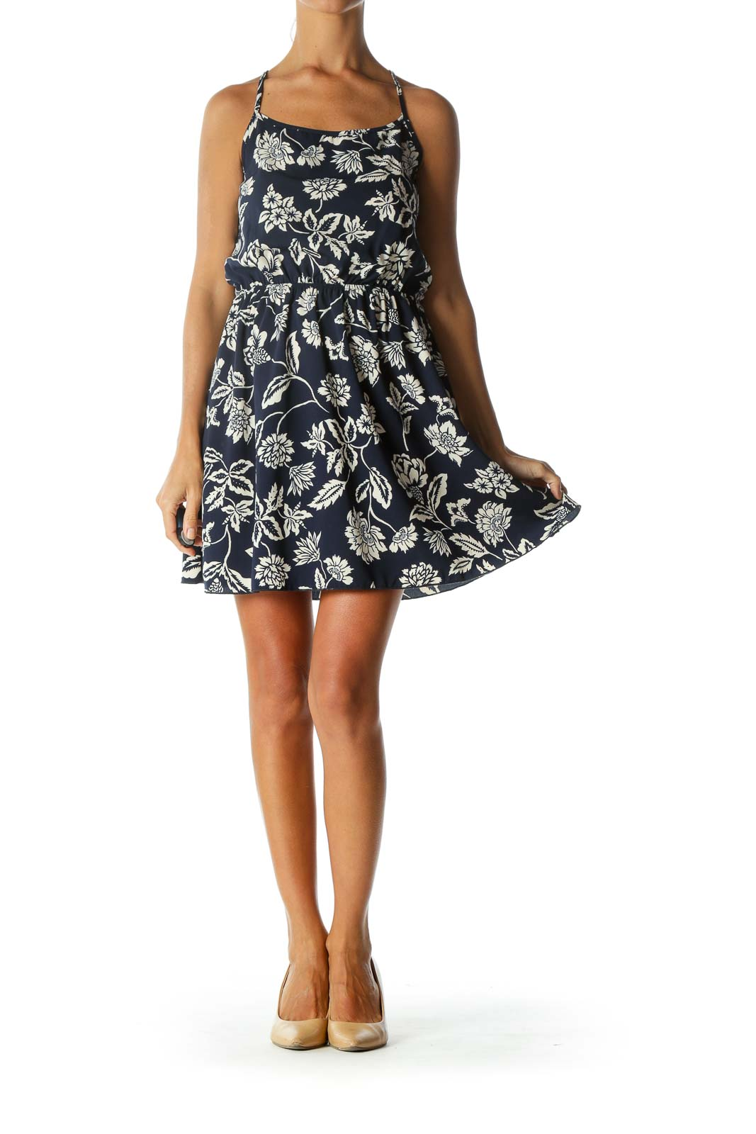 Navy Floral Low Back Day Dress