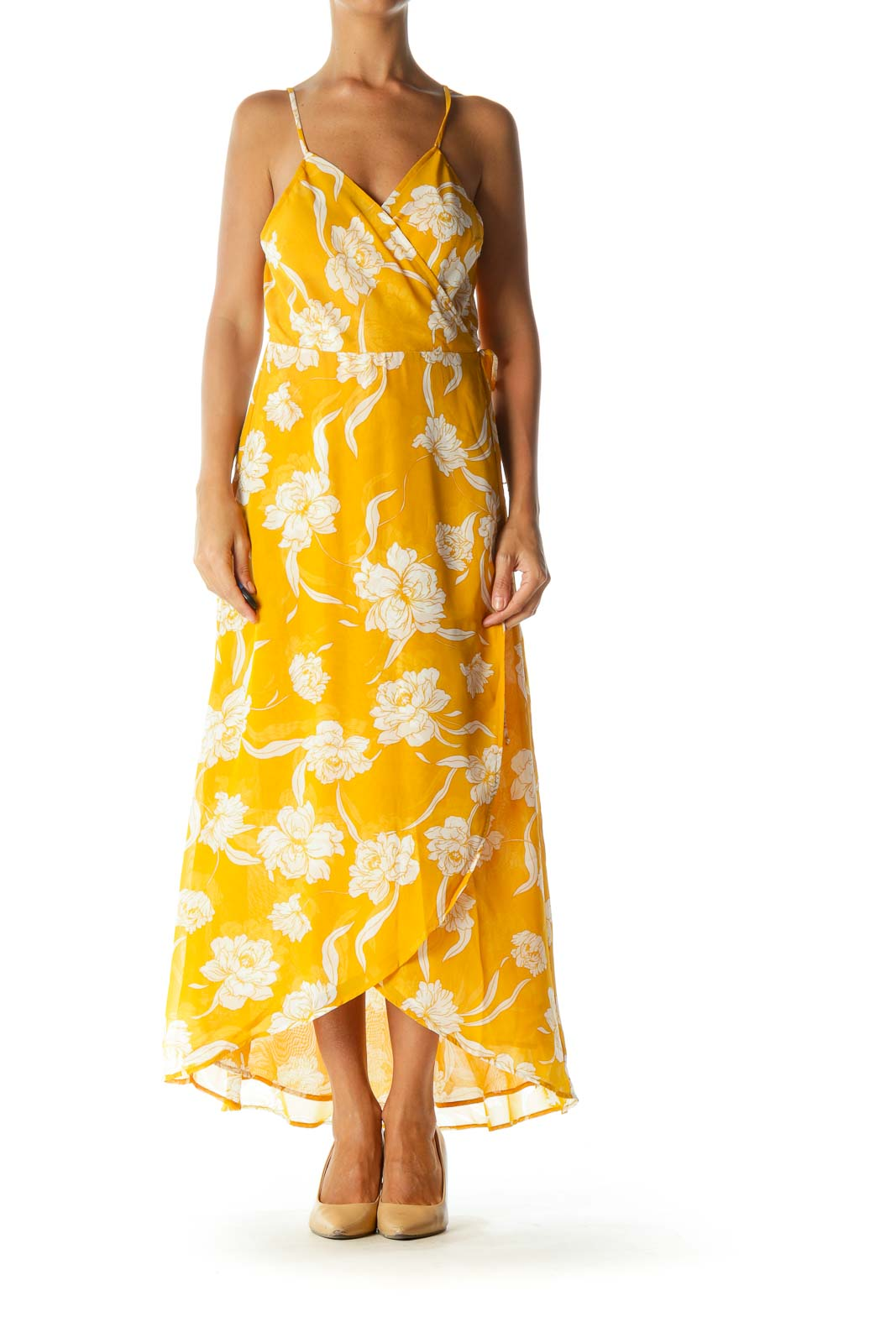 Mustard Yellow White Translucent Floral-Print Day Wrap Dress