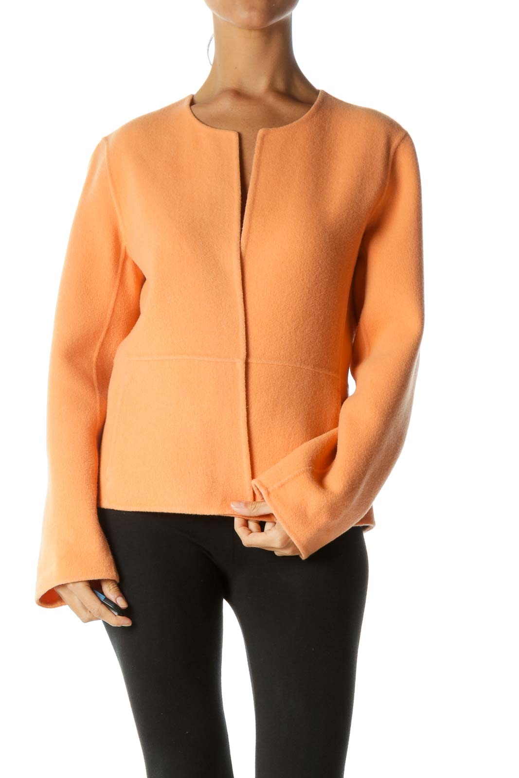 Light Orange Wool Cashmere Blend Pocketed Open Blazer