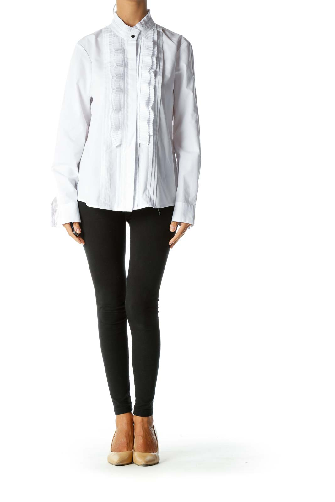White Round Neck Pleated Trimming Details Shirt