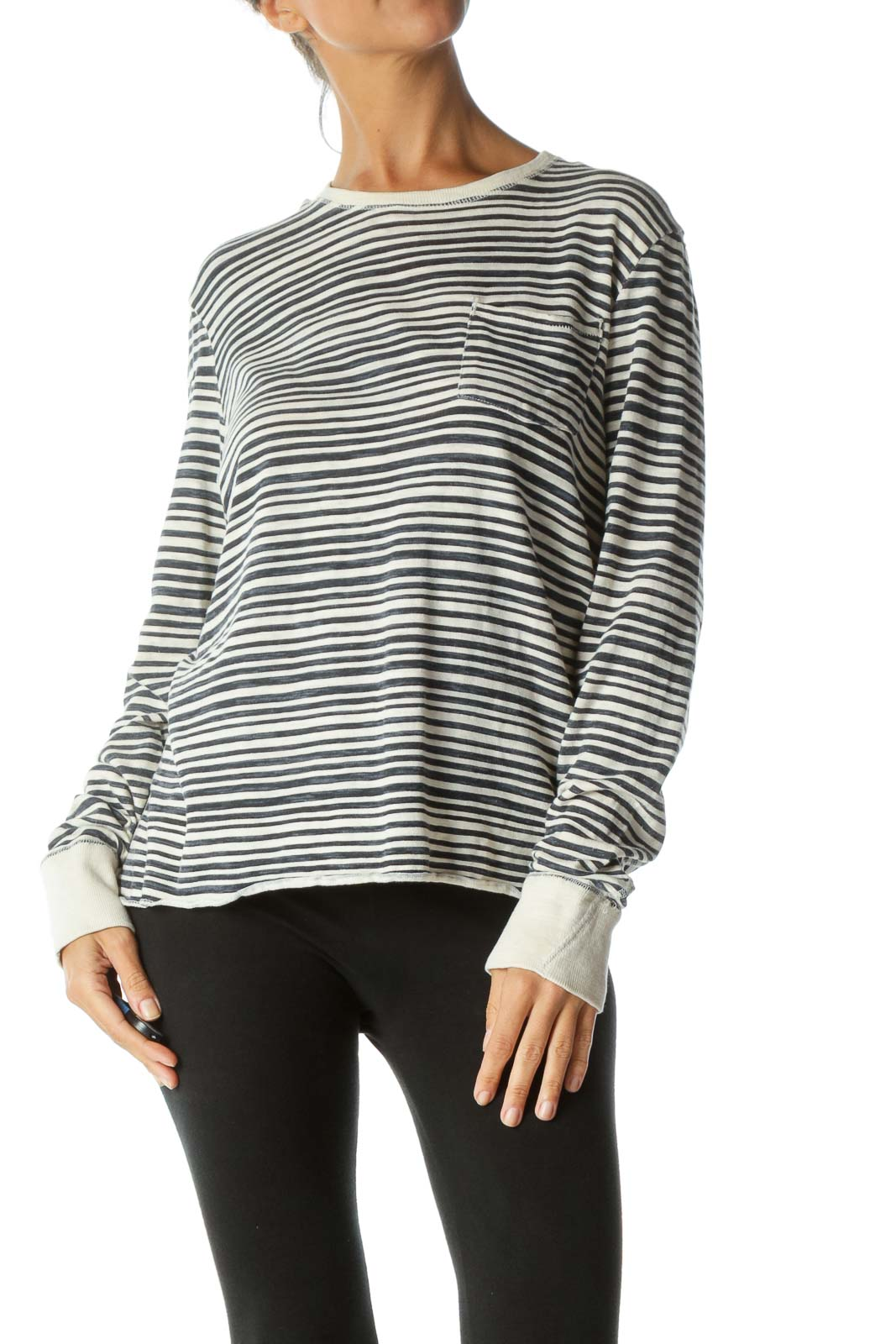 Black Beige Stripe Cotton T-shirt