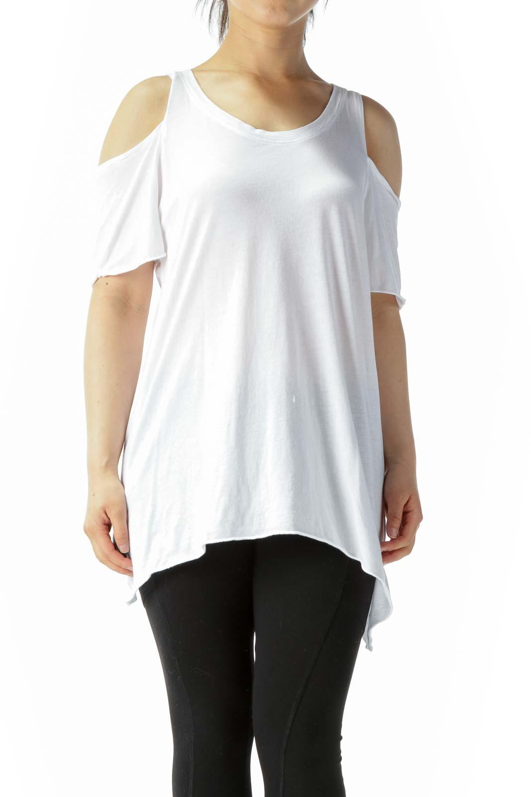 White Supima Cotton Blend Cold Shoulder Short-Sleeve Soft Top