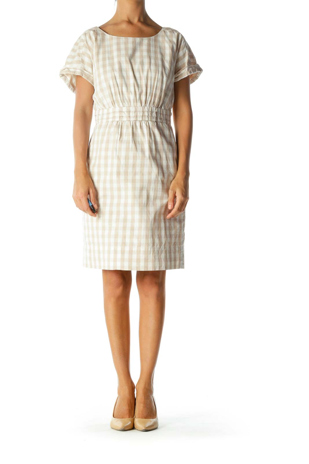 Beige Cream Gingham Short Sleeve Pleated Pocketed Dress