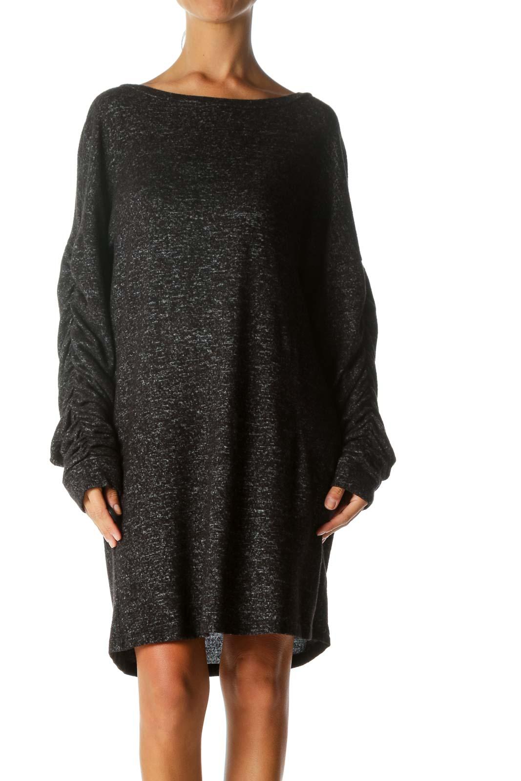 Black Ruffled Sleeve Shift Dress