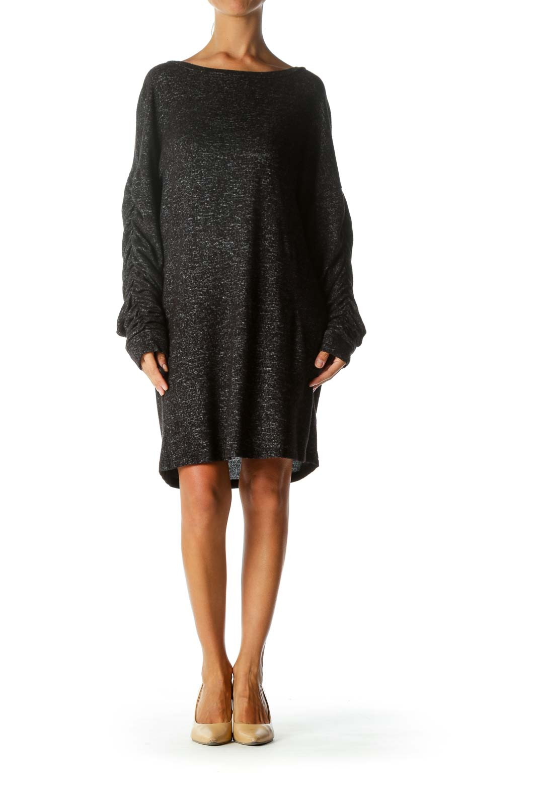 Black Ruffled Sleeve Shift Dress