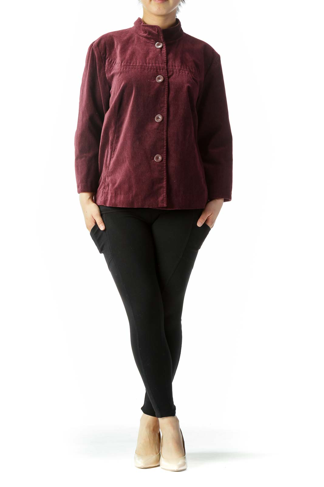 Burgundy Faux-Velvet Pocketed High-Neck Jacket