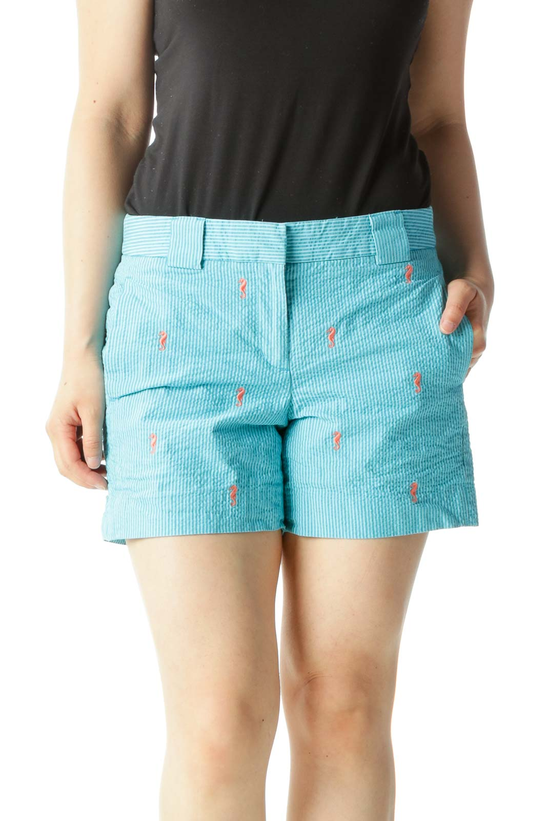 Blue Striped Shorts with Orange Seahorse Pattern
