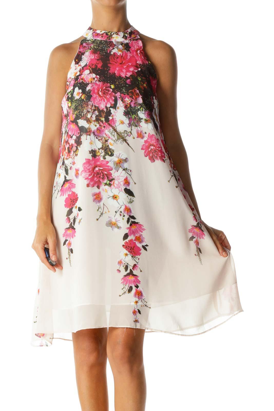 Pink Floral Mock A-line Dress