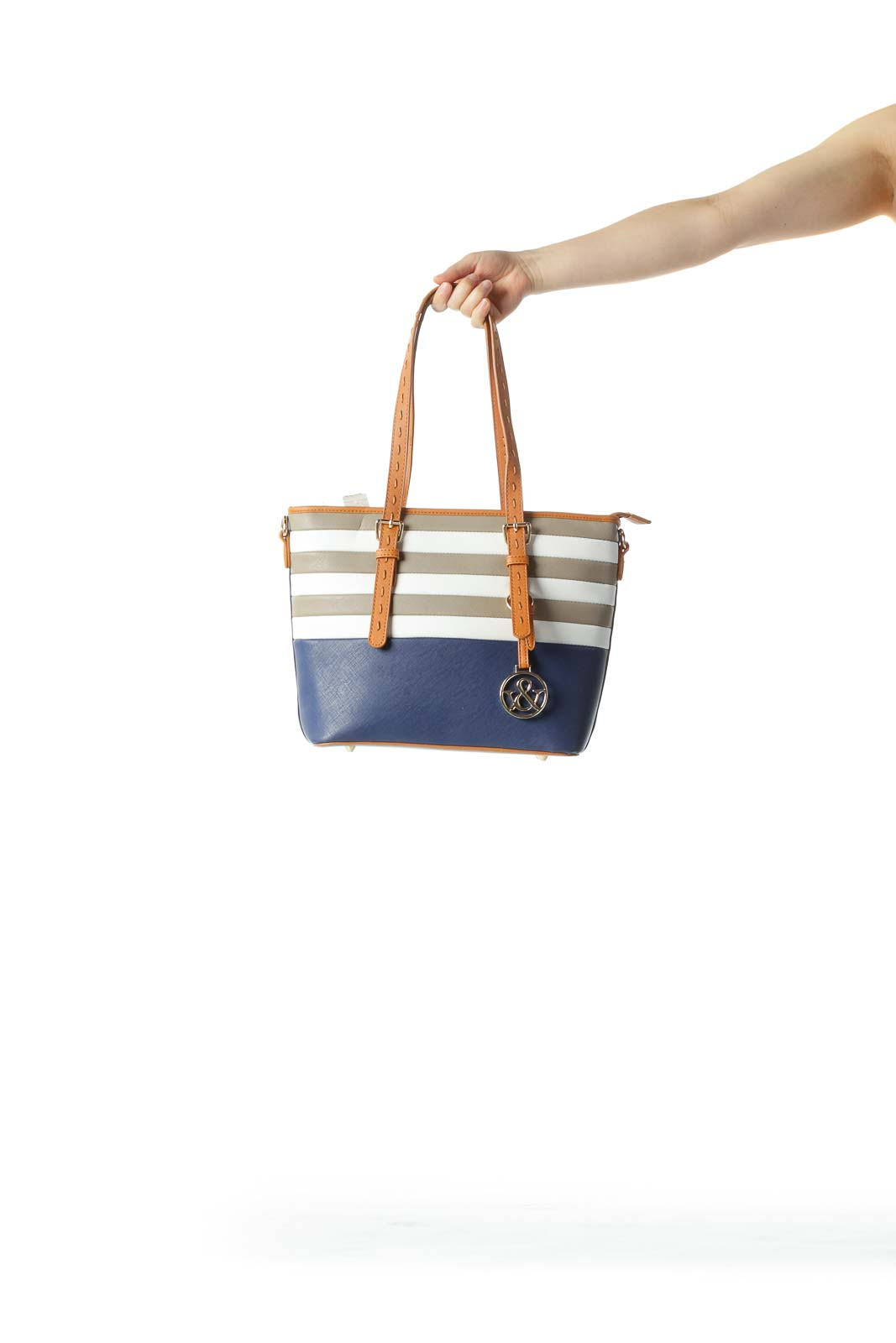 Blue White Nude Gold Hardware Zippered Medium Tote