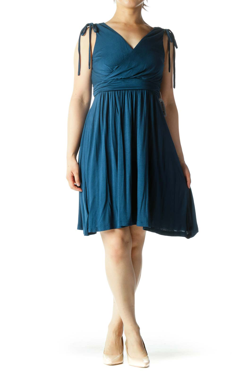 Teal Blue V-Neck Surplice Stretch Flared Day Dress