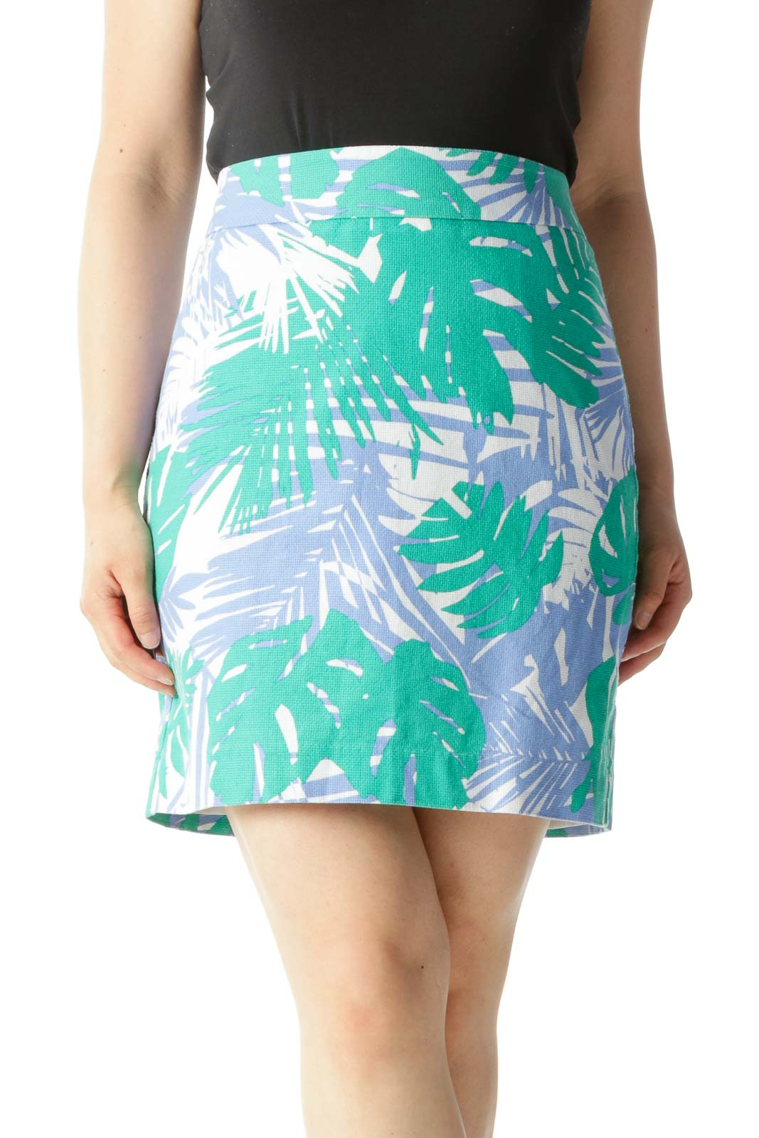 Blue Green & White Tropical Print Pencil Skirt
