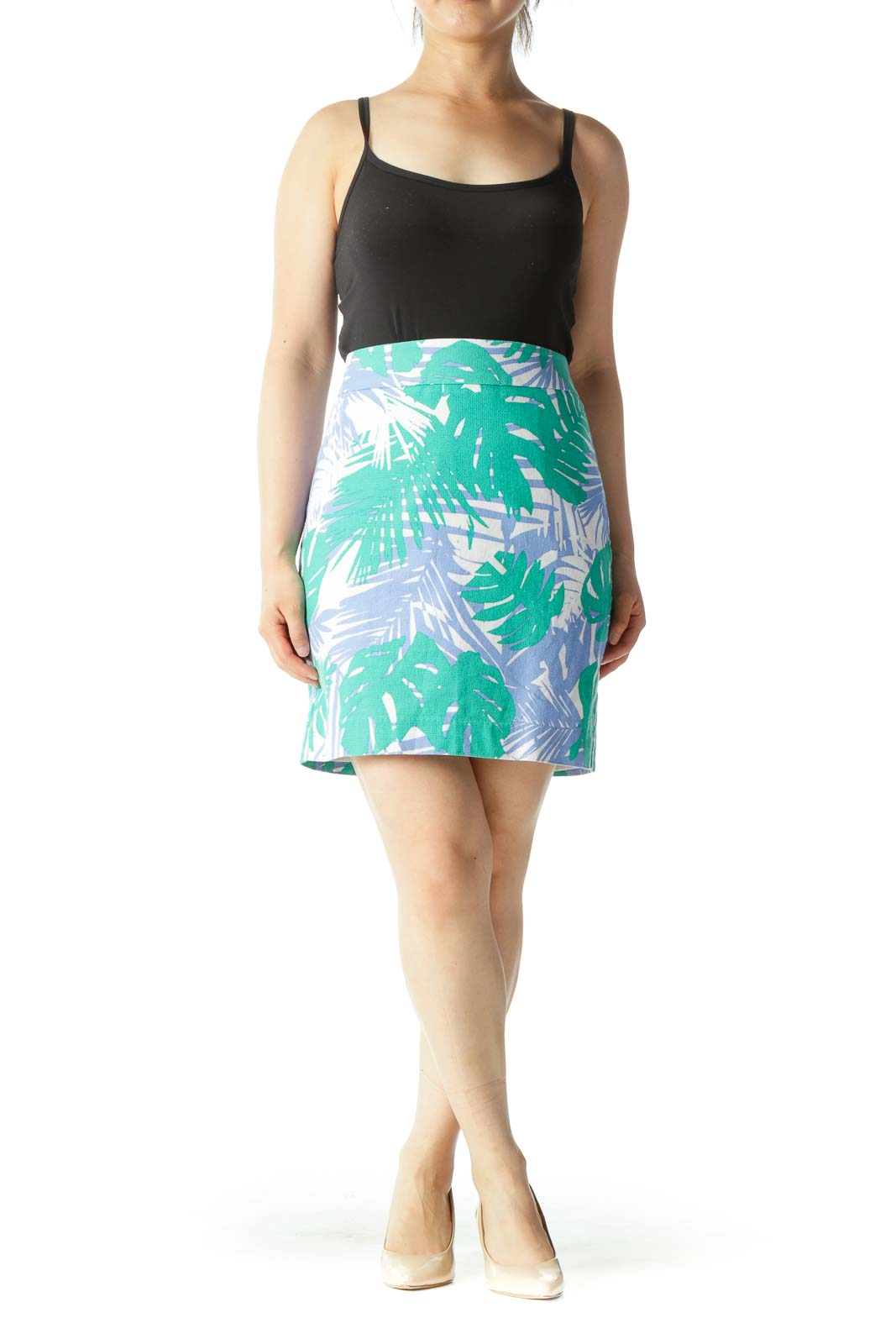 Blue Green & White Tropical Print Pencil Skirt