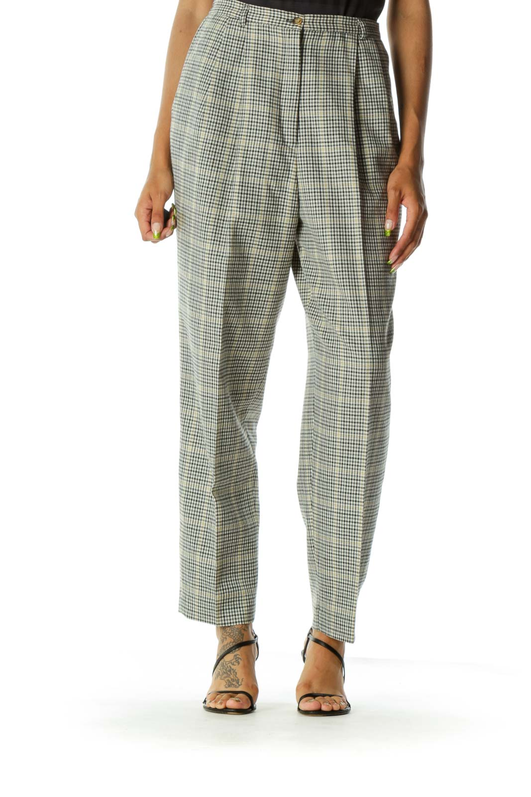Black White Wool Check Pants