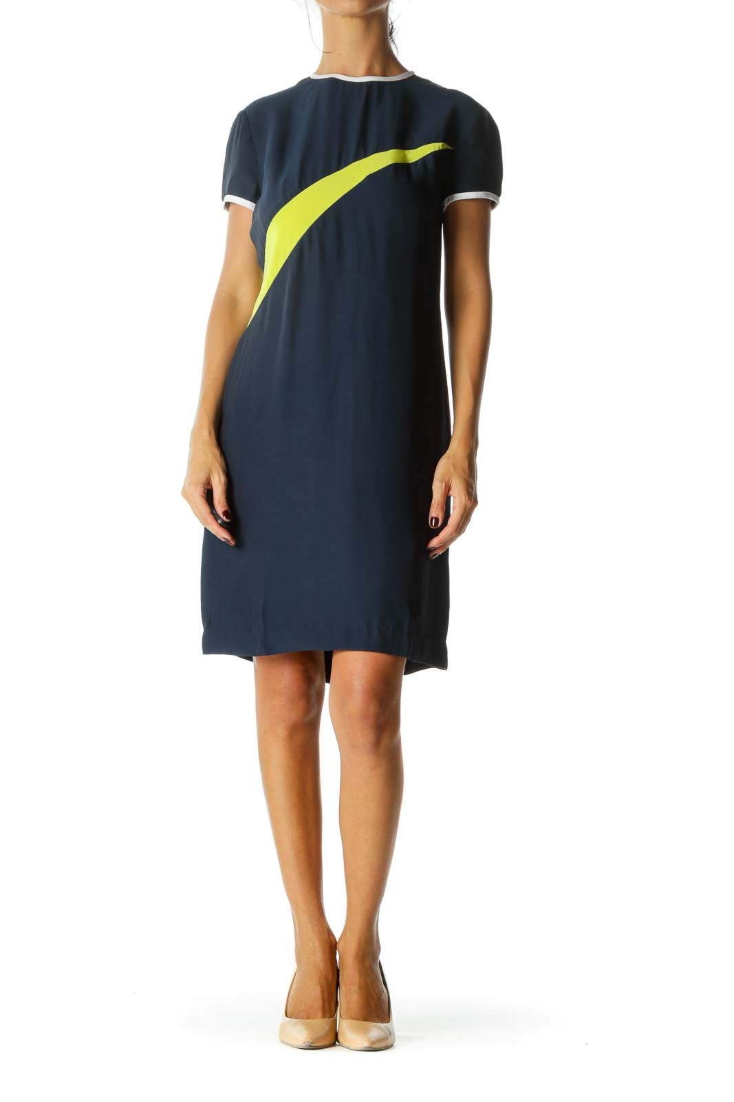 Navy Blue Fluorescent Green White Trim Short Sleeve Silk Blend Color Block Dress