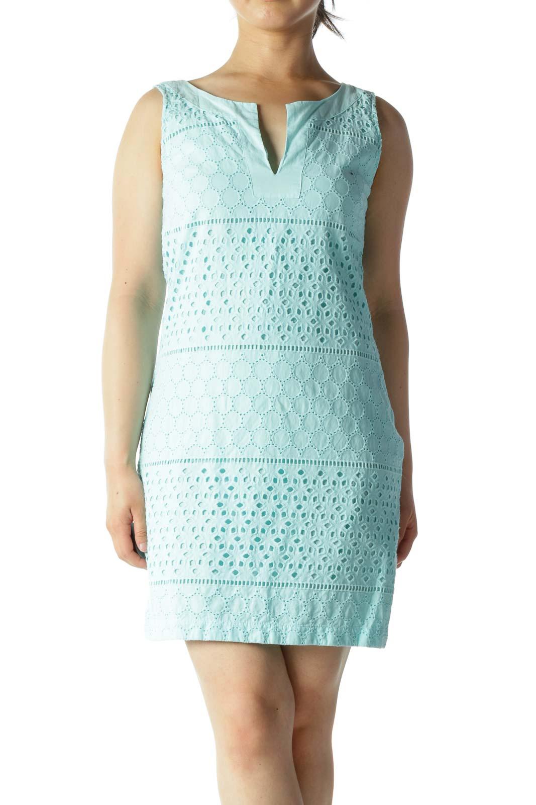 Light Blue 100% Cotton Eyelet V-Neck Side Zipper Day Dress