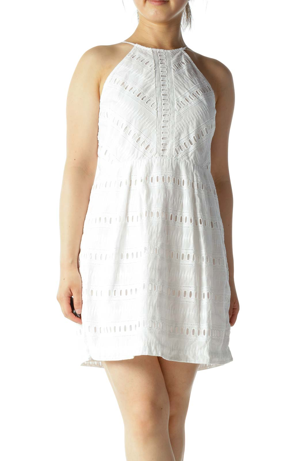 White 100% Cotton Eyelet Halter Neck A-Line Day Dress