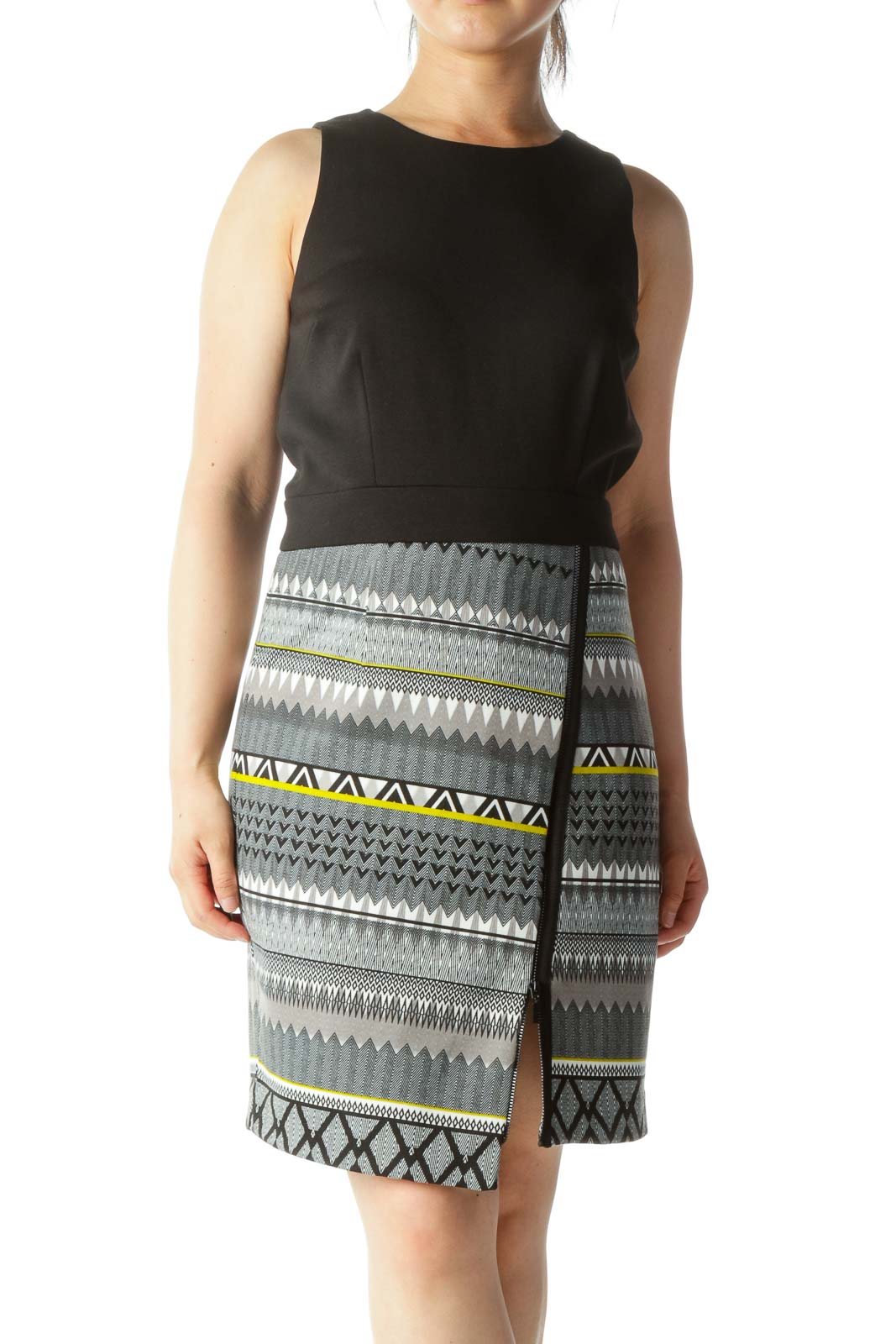 Black White Gray Yellow Skirt Print Zipper Accent Dress