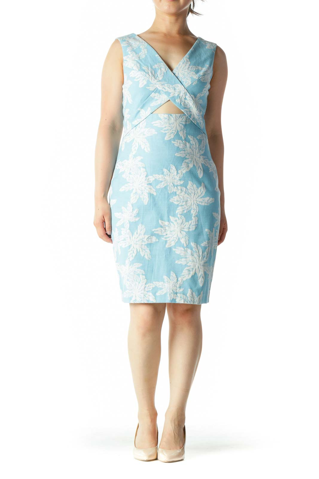 Blue White Jacquard Floral-Texture V-Neck Front Cut Out Day Dress
