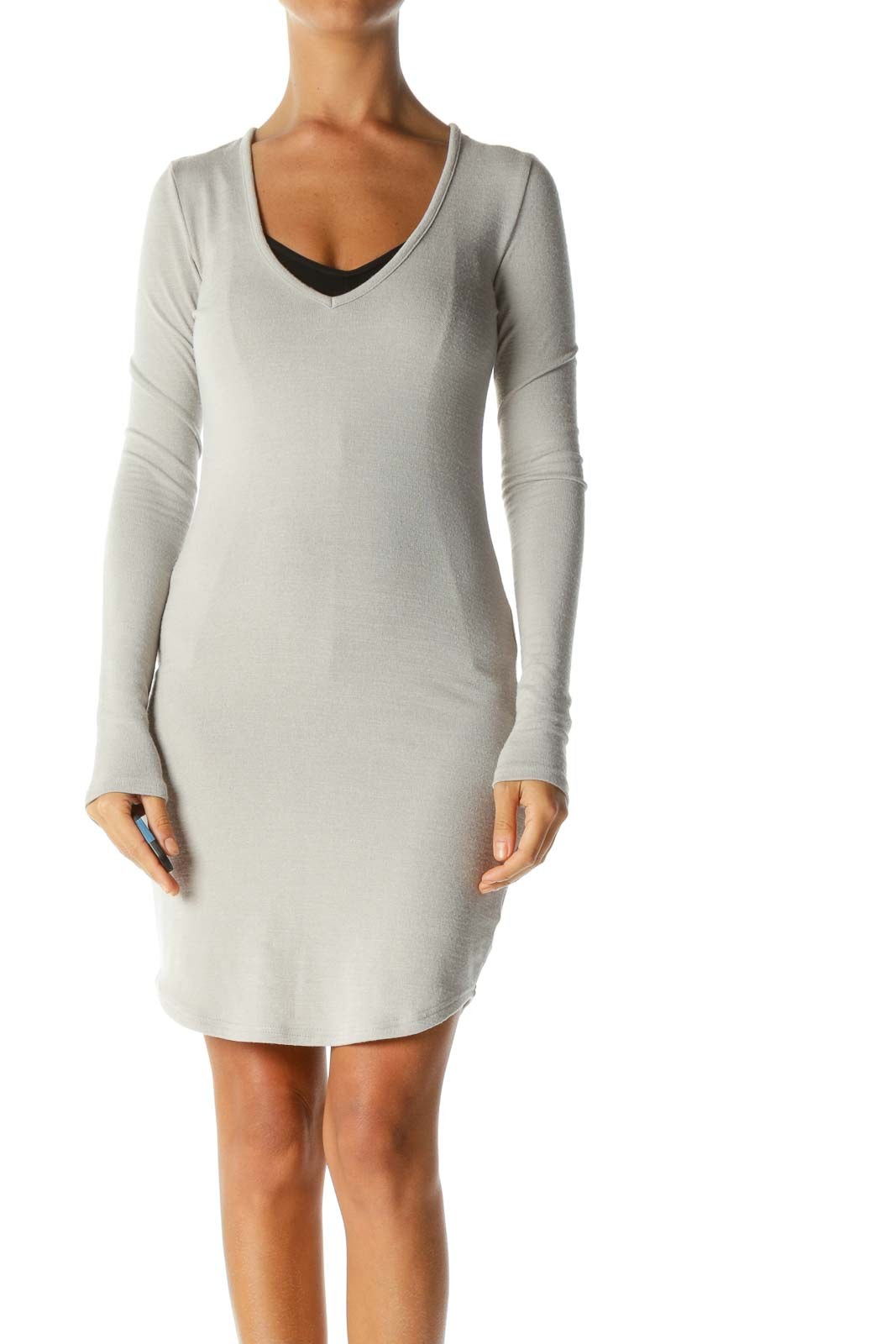 Beige V-Neck Stretch Long-Sleeve Knit Dress