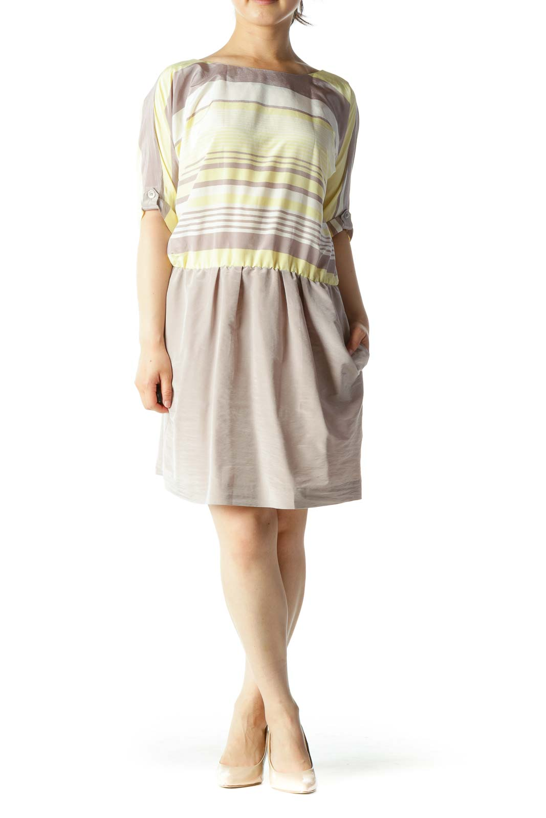 Beige Yellow White Gradient Stripes Bat Sleeves Elastic Waist Dress