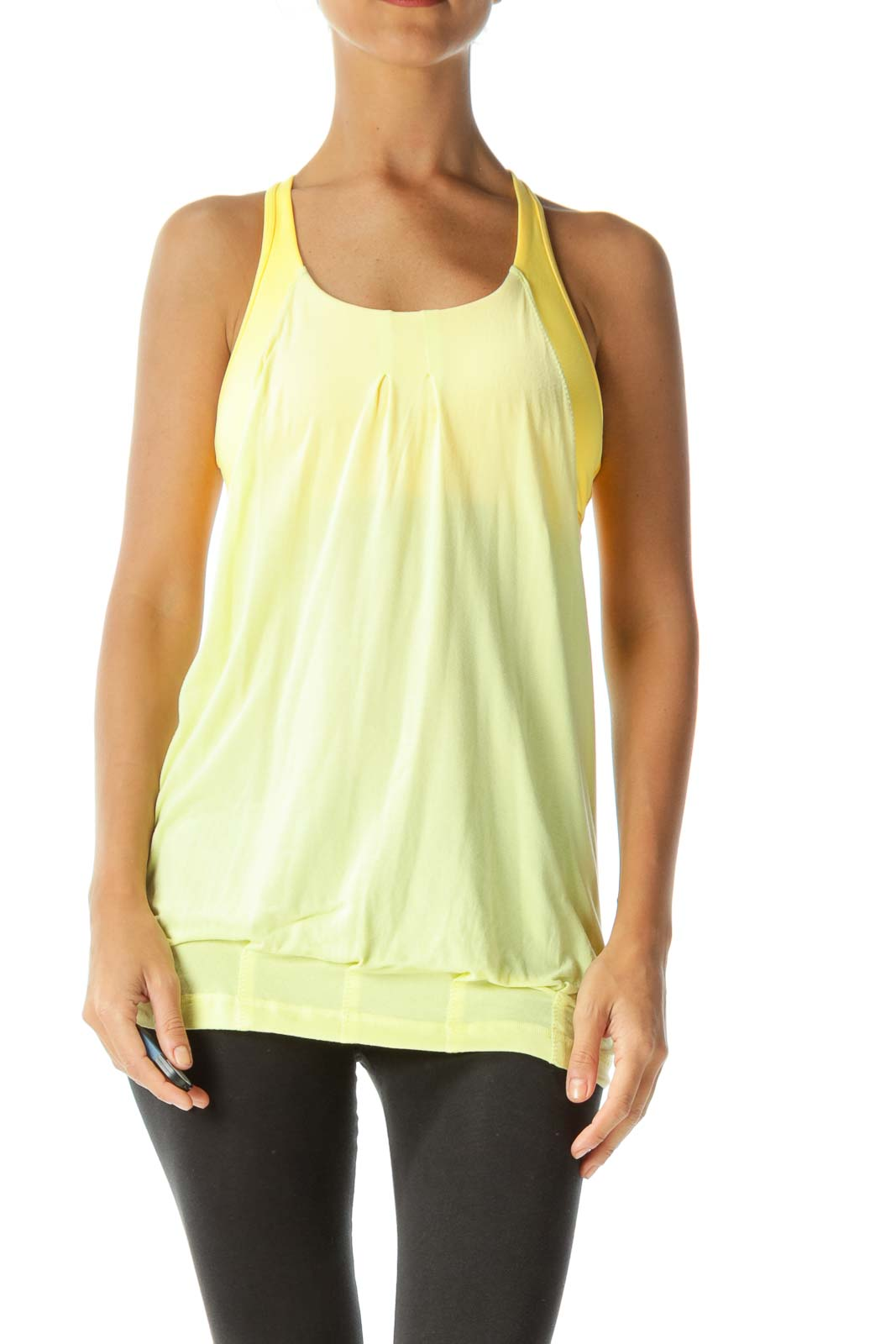 Yellow Racer-Back Cut-Out Built-in-Bra Yoga Tank