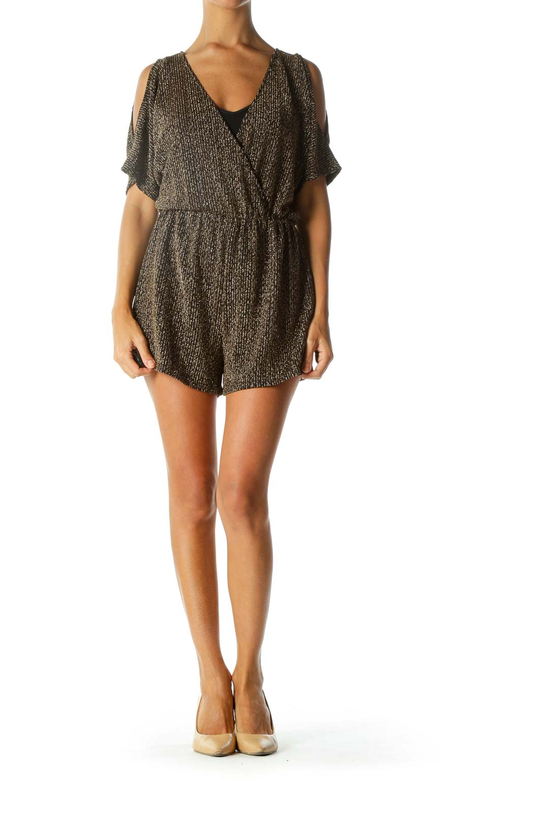 Black Gold Surplice Textured Cold Shoulder Short Sleeve Romper