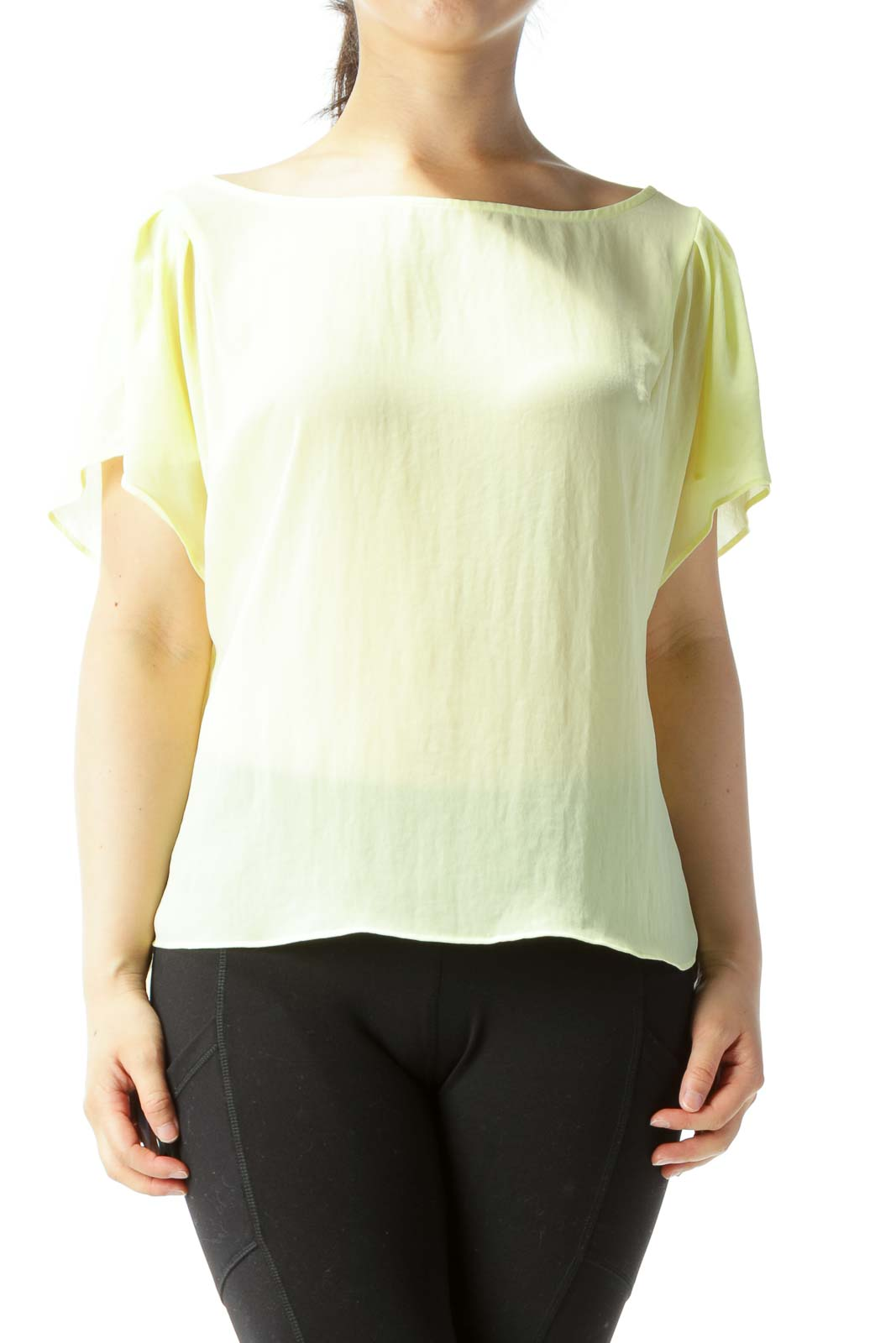 Yellow Translucent Bat-Sleeve Over-Sized Blouse