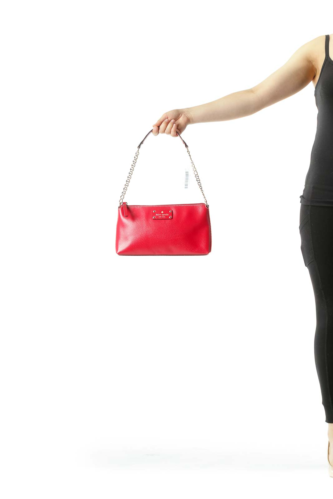 Red Gold Chain Leather Zippered Shoulder Bag
