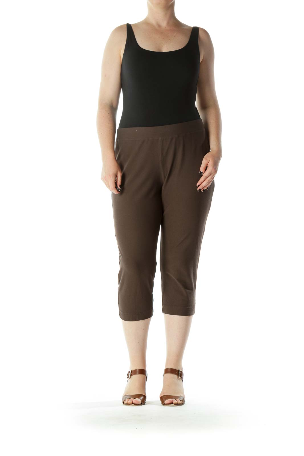 Brown Cropped Stretch Pants