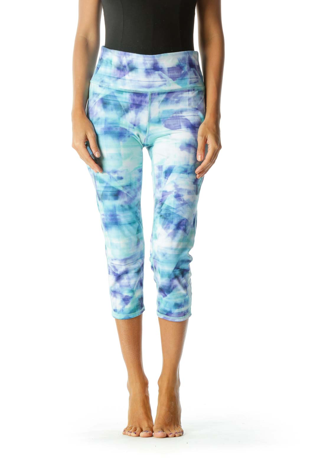 Blue Green & White Tie-Dye Yoga Pants
