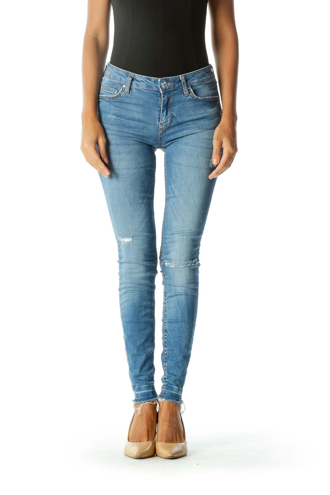 Blue Light-Wash Distressed Skinny Jeans with Frayed Hem