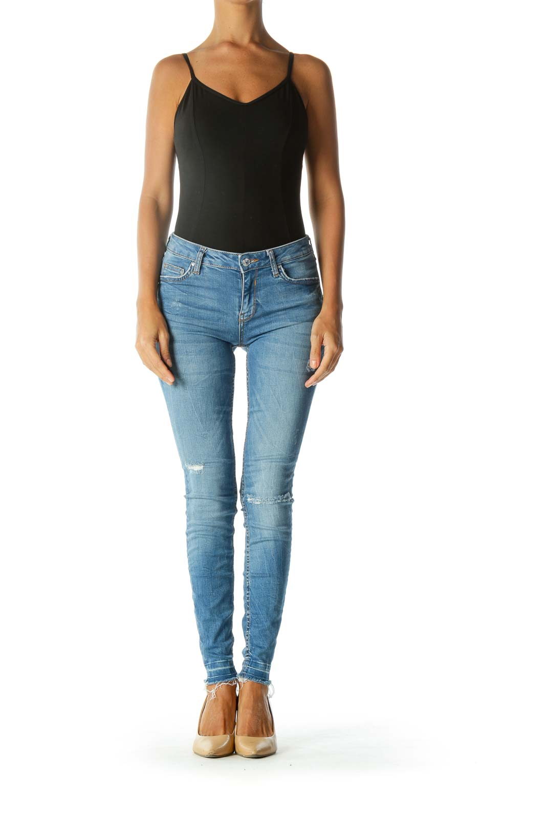 Blue Light-Wash Distressed Skinny Jeans with Frayed Hem