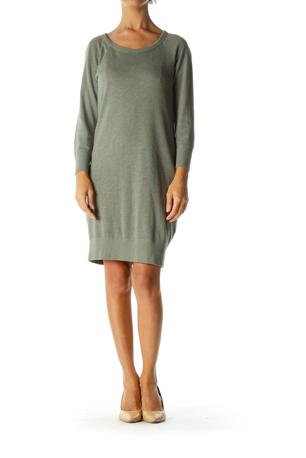 Green Round Neck Long Sleeve Sweat Dress