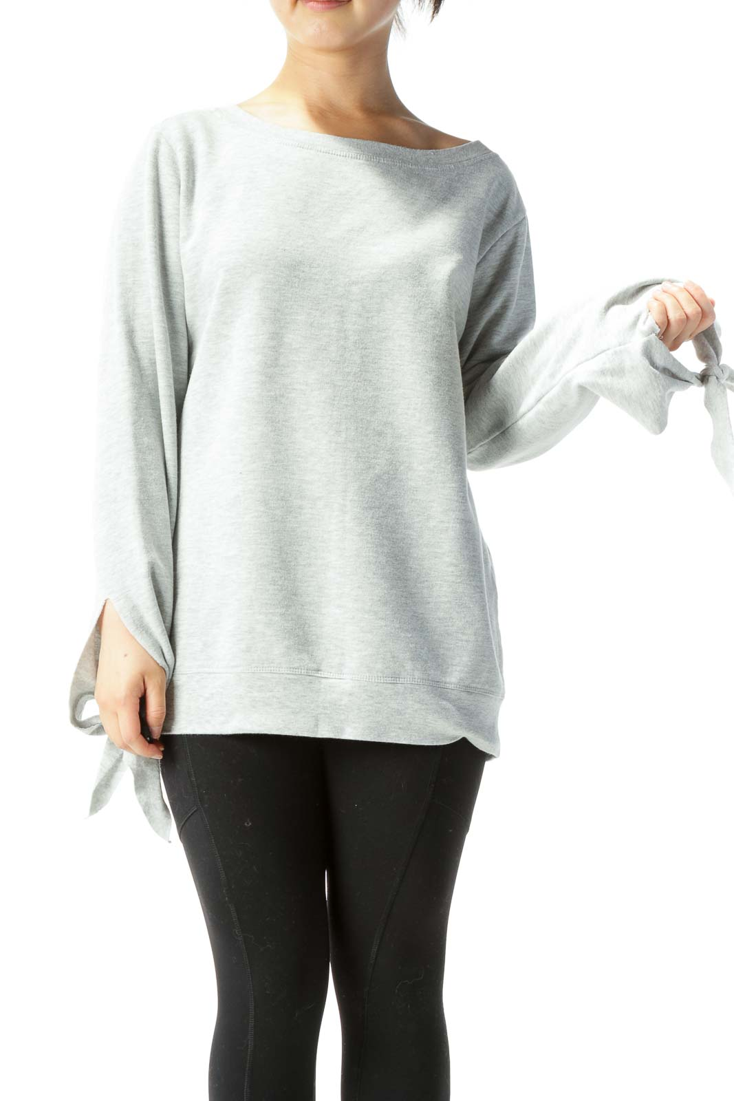 Heather Gray Long-Sleeve Sweatshirt w/ Ties on Wrists