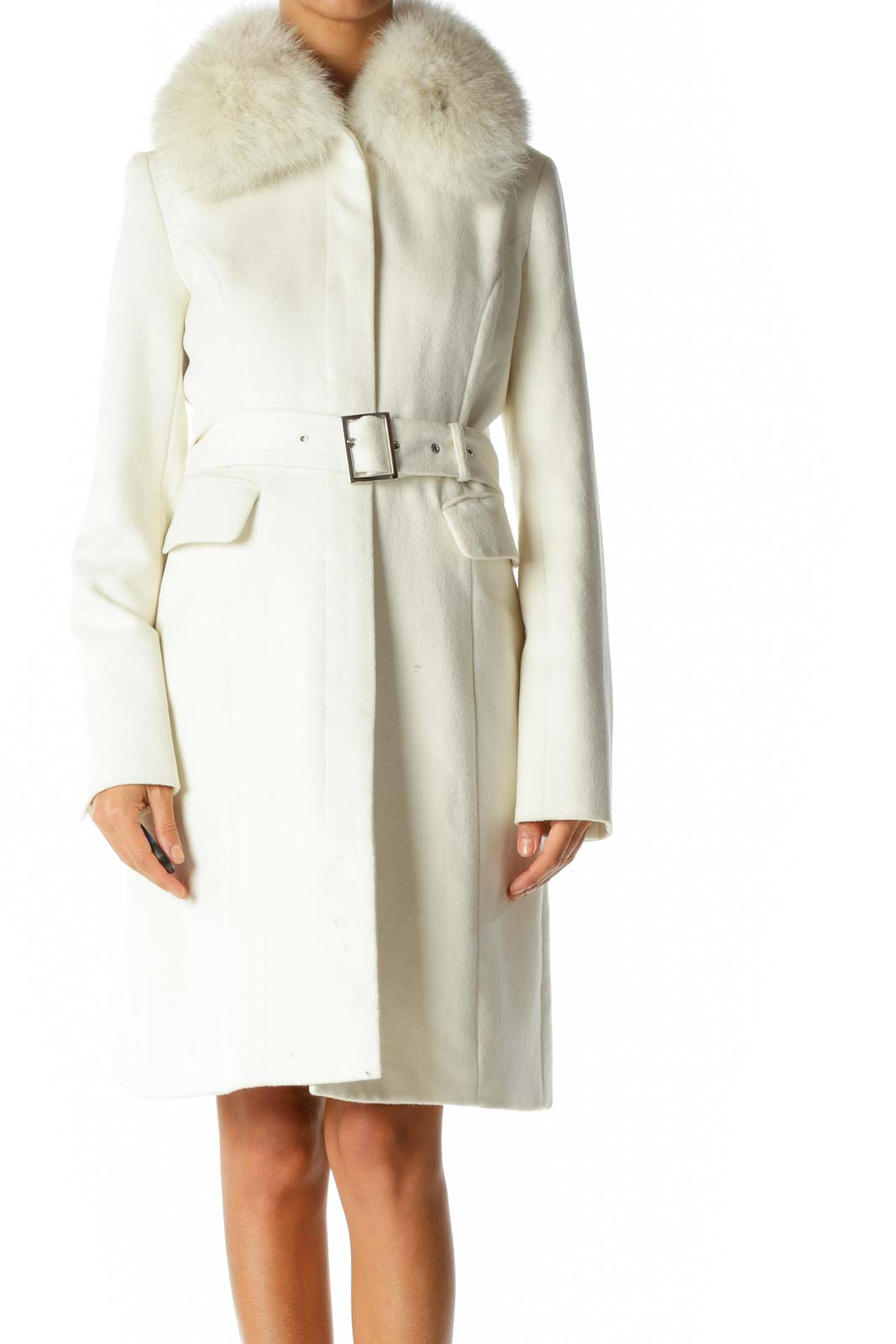 White Fur Collar Buttoned Belted Coat
