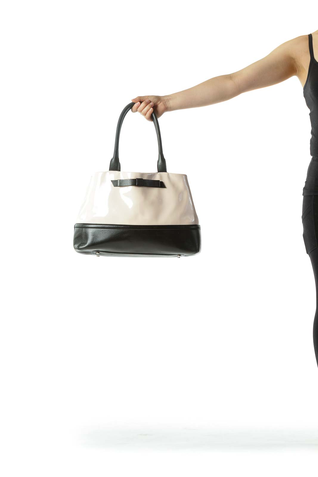 Black Cream Patent Leather Pocketed Shoulder Bag