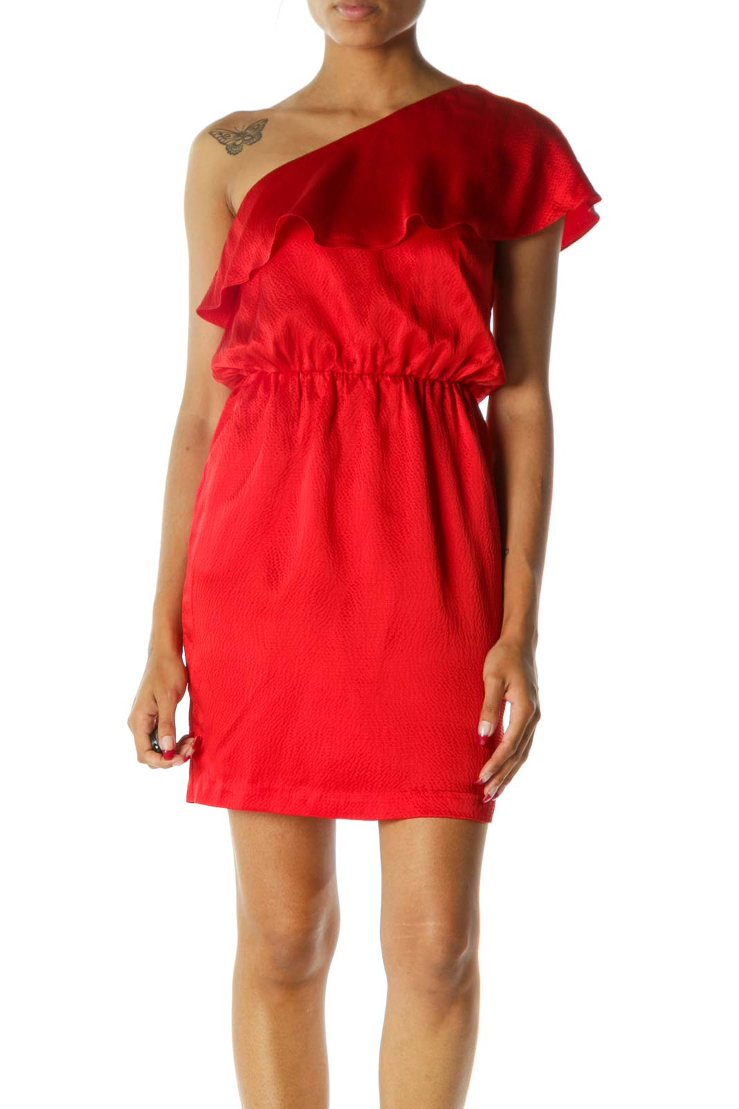 Red One-Shoulder Flared Pocketed 100% Silk Dress