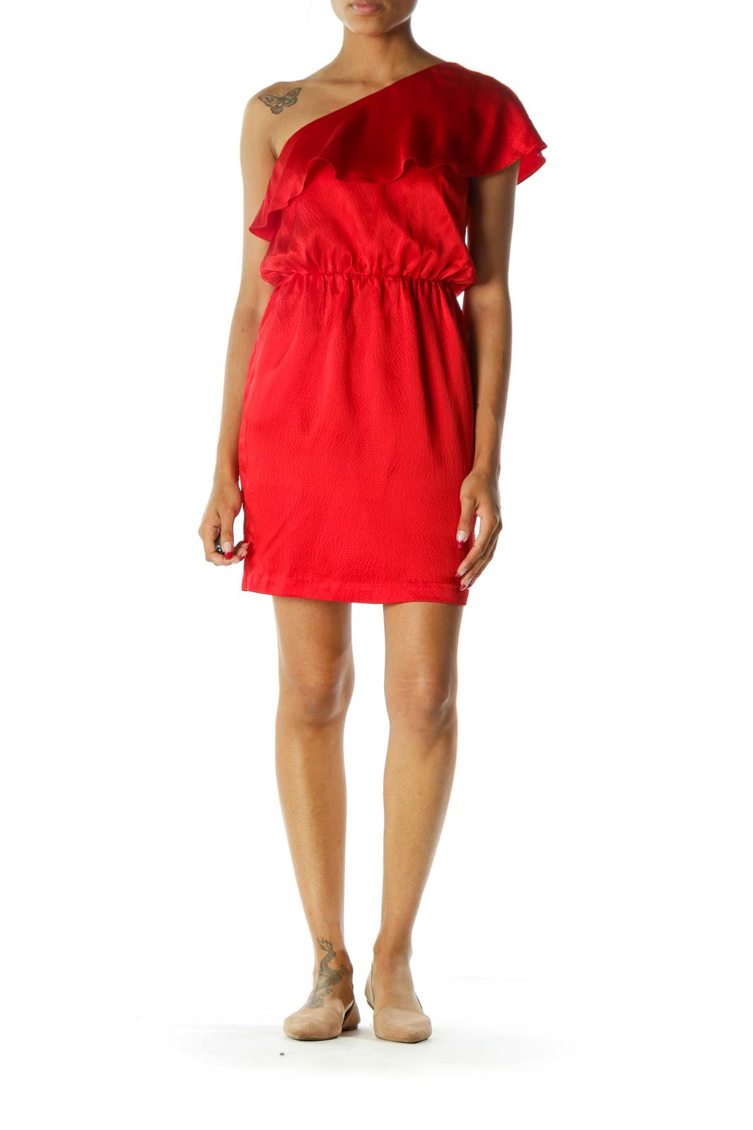 Red One-Shoulder Flared Pocketed 100% Silk Dress